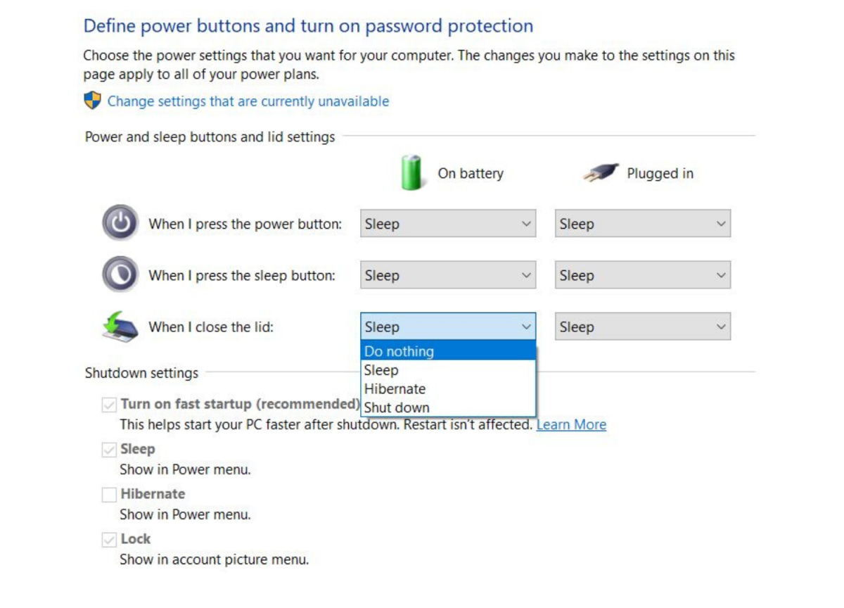 """Step 5: Open the drop-down menu under """"on battery"""" and select """"do nothing."""""""