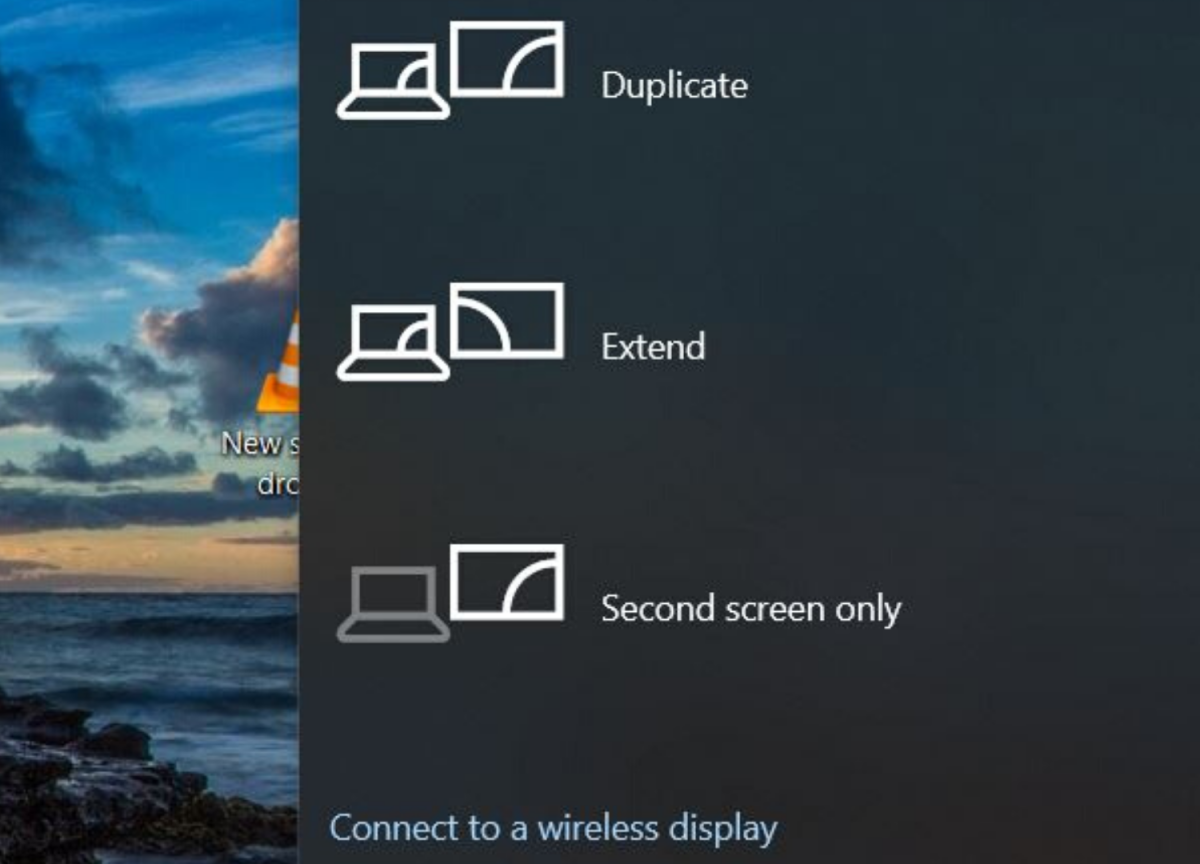 Click on Windows button + the P key to bring up this menu.