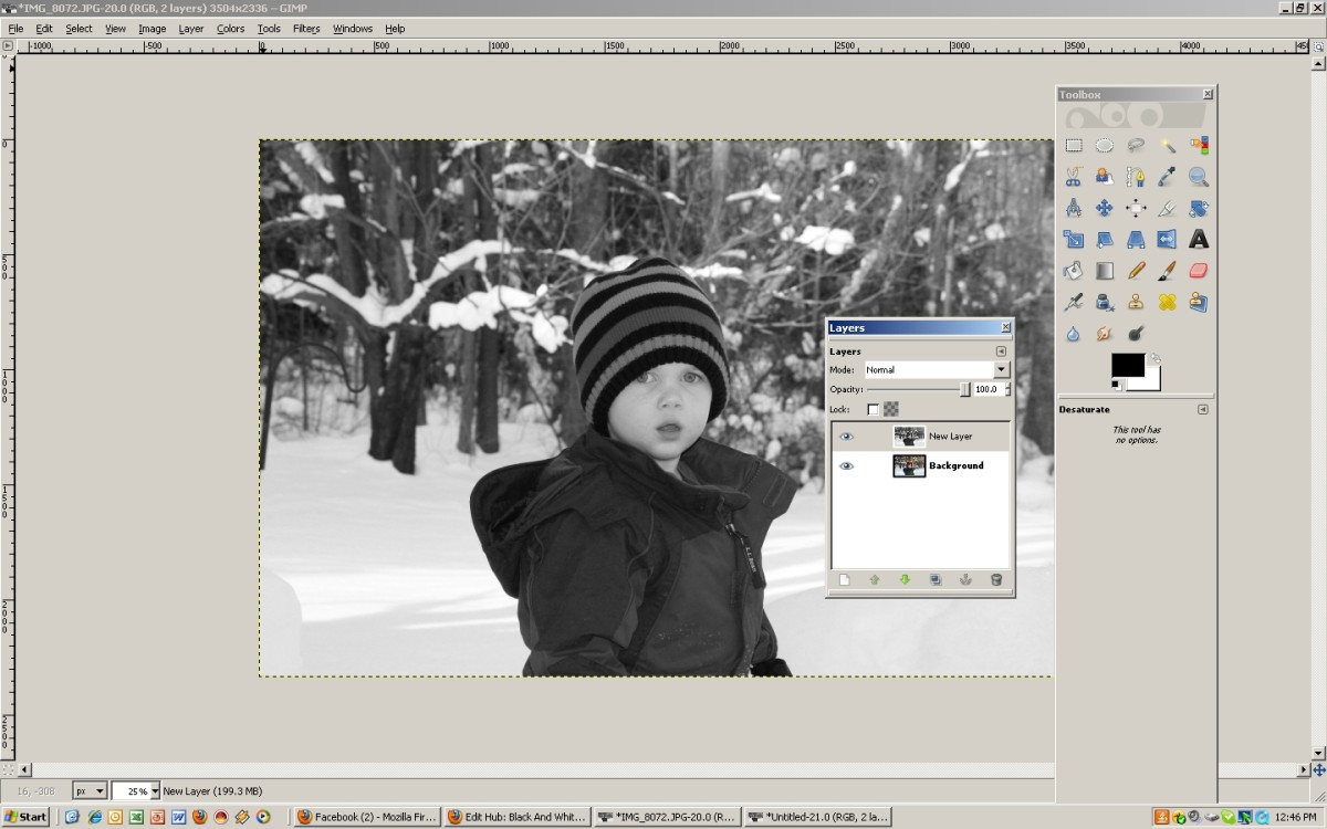 The layered black and white image. Note the background layer is still in color.