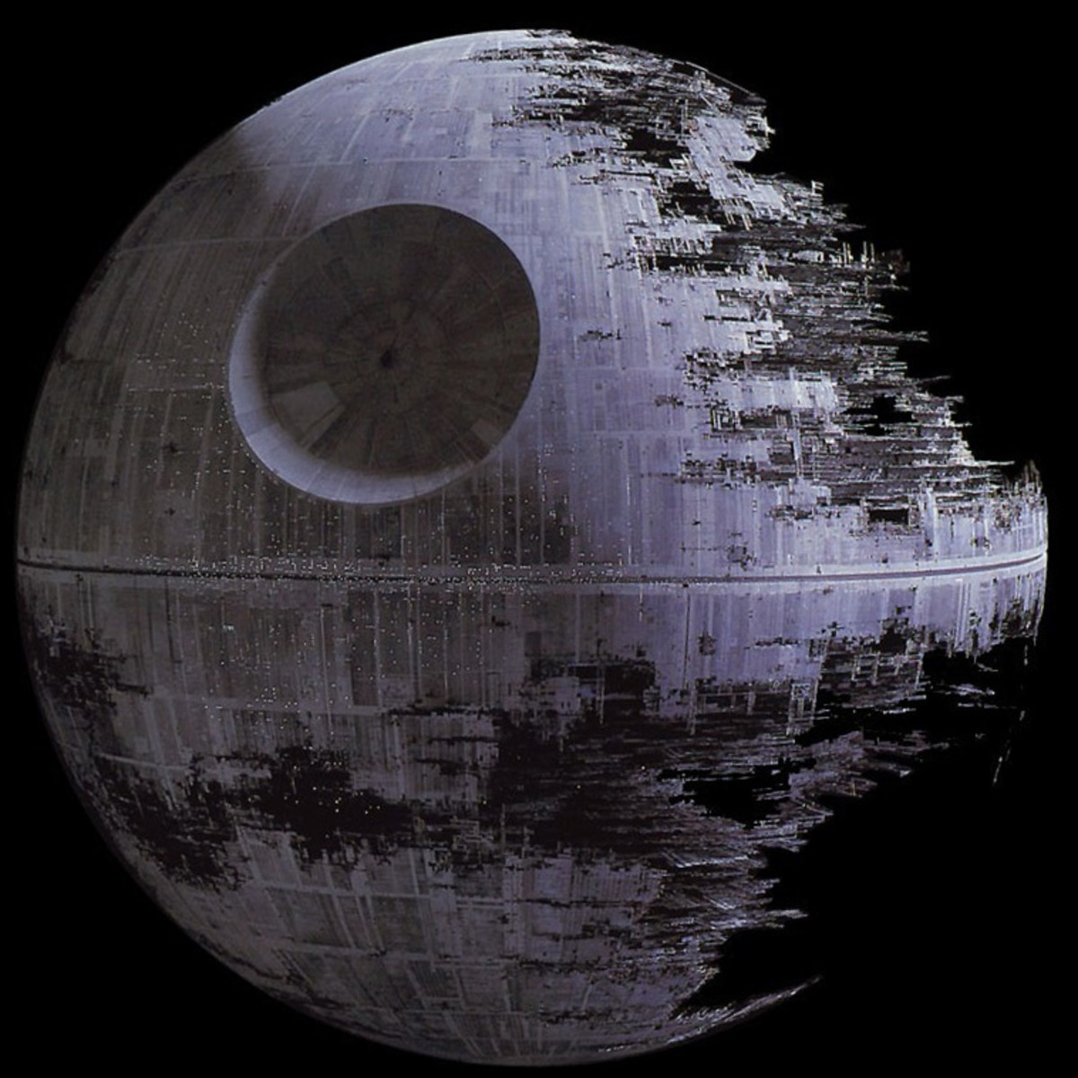 I decided to add this image of the Death Star to the clear sky in the top photo.