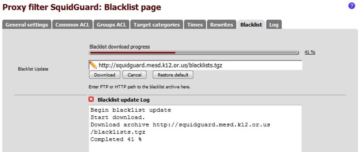 Uploading a blacklist to SquidGuard