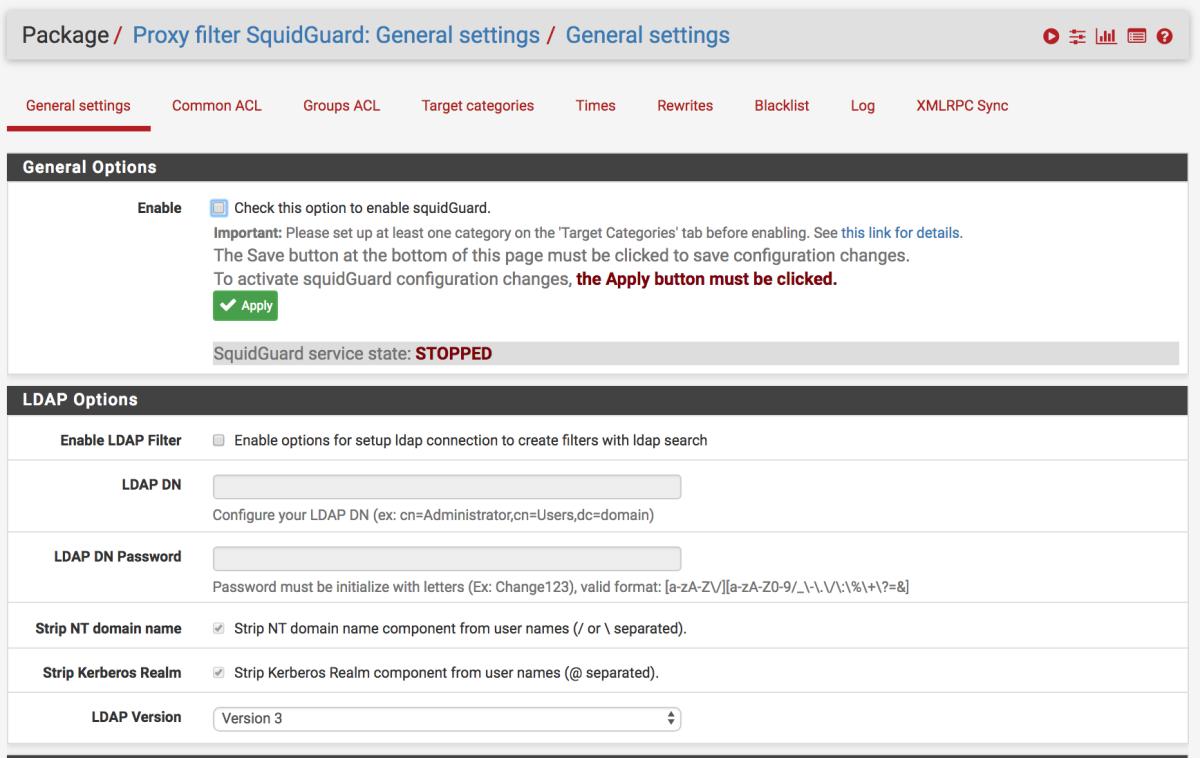 SquidGuard URL Filter