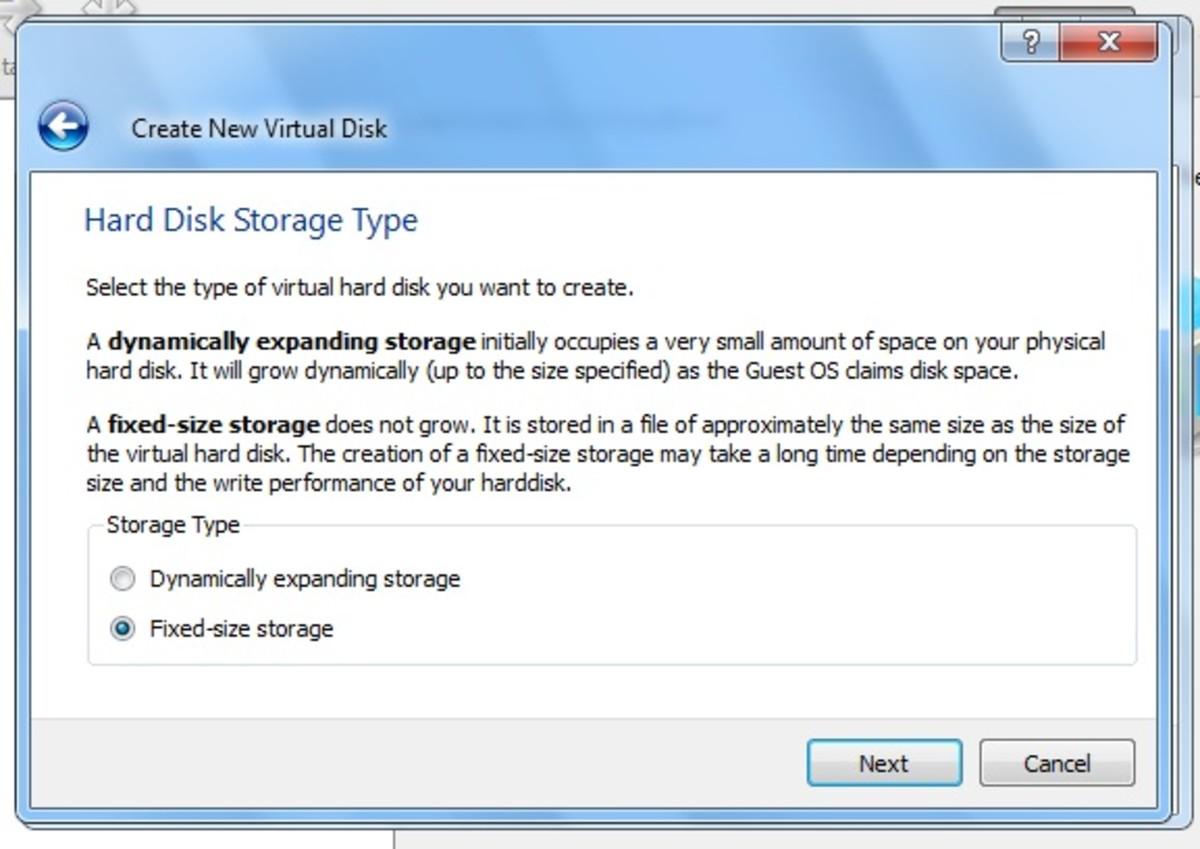The Hard Disk Storage Type window