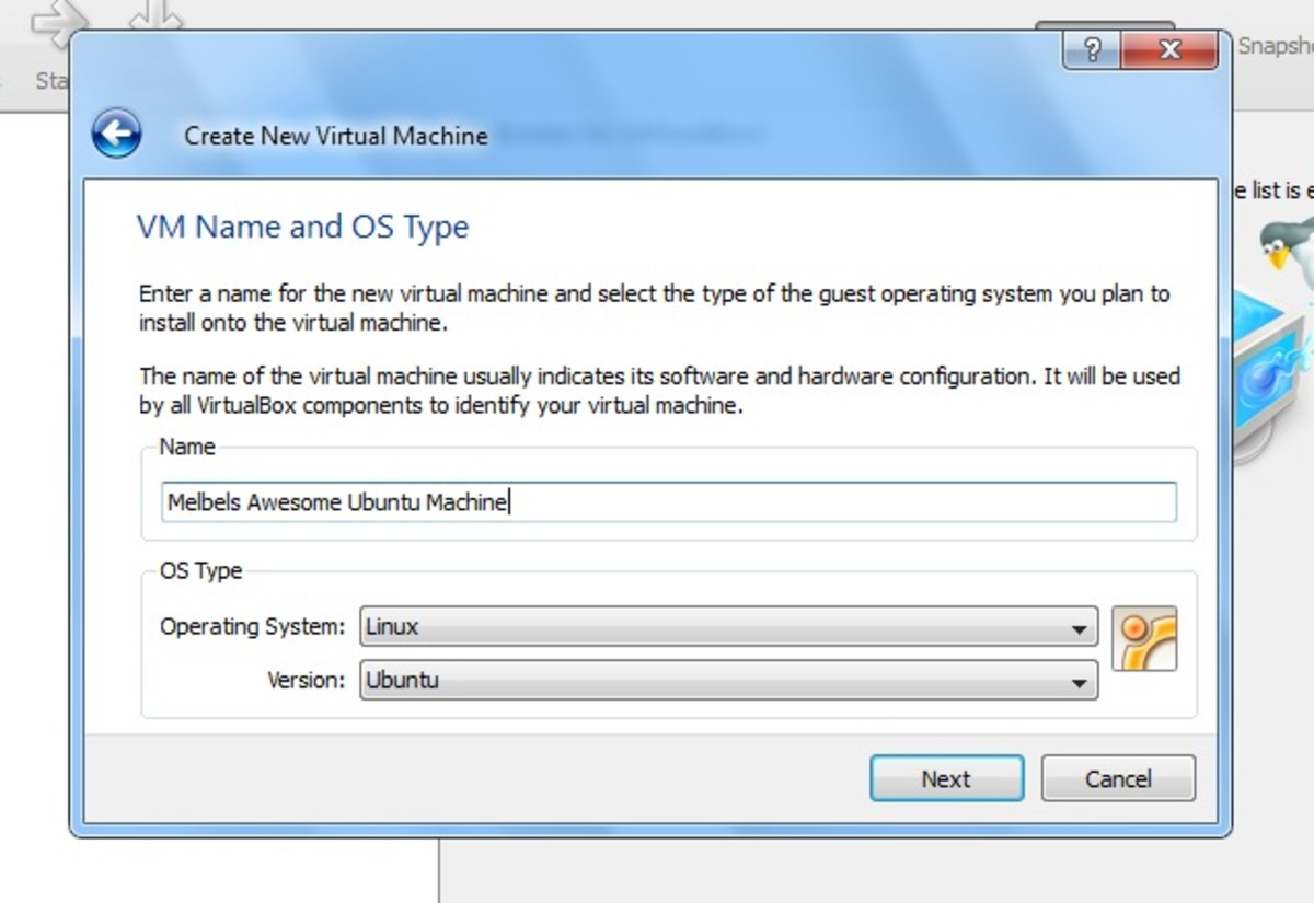 The VM Name and OS Type window