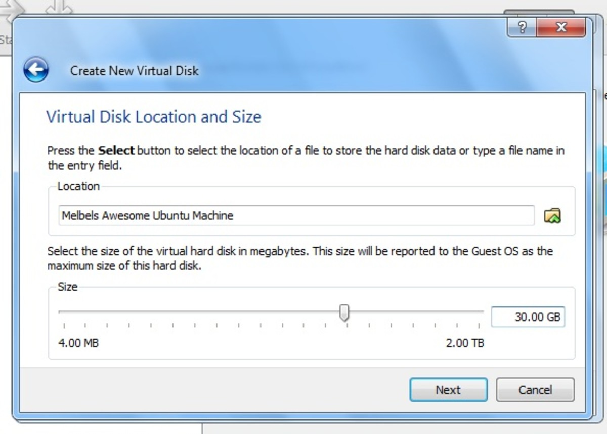 The Virtual Disk Size and Location window is where you will need to choose how much space you wish to allocate to your virtual machine.
