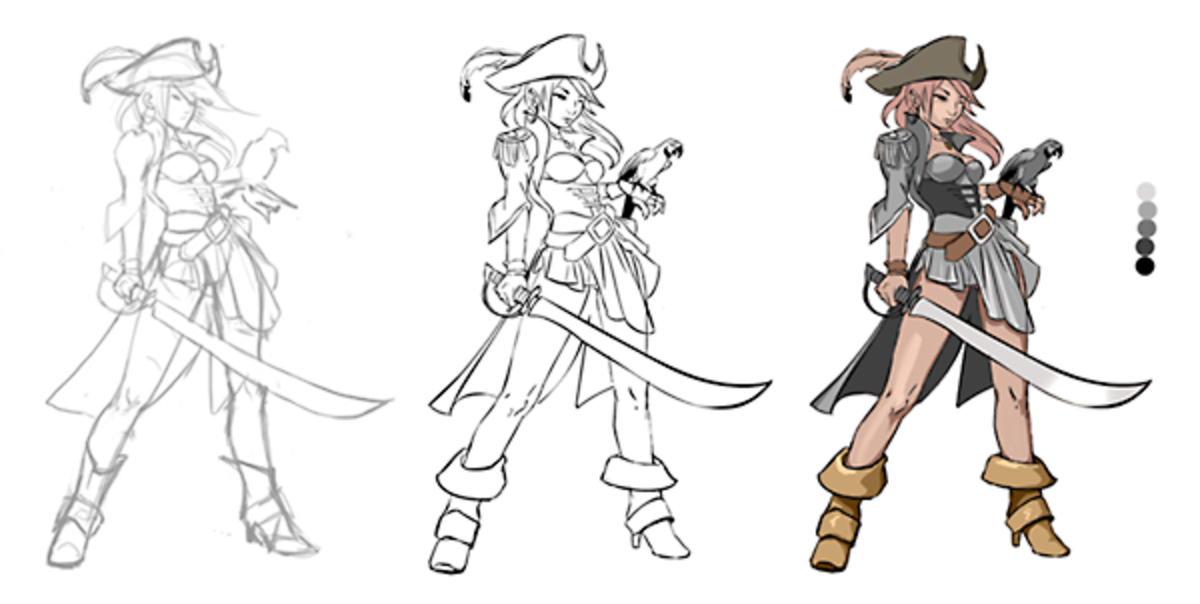 sketch, lines and base colour of the sprite