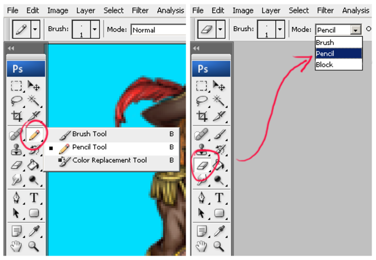 Selecting the pencil tool in Photoshop for applying and erasing pixels