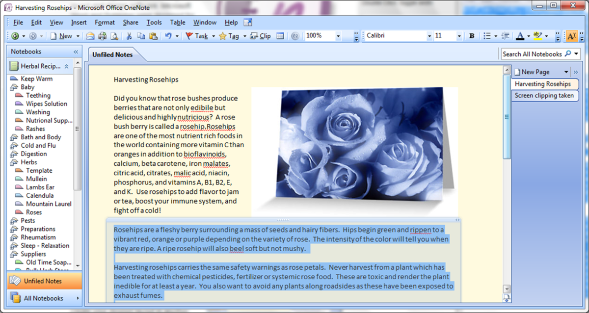Word wrapped photo in OneNote using multiple text boxes
