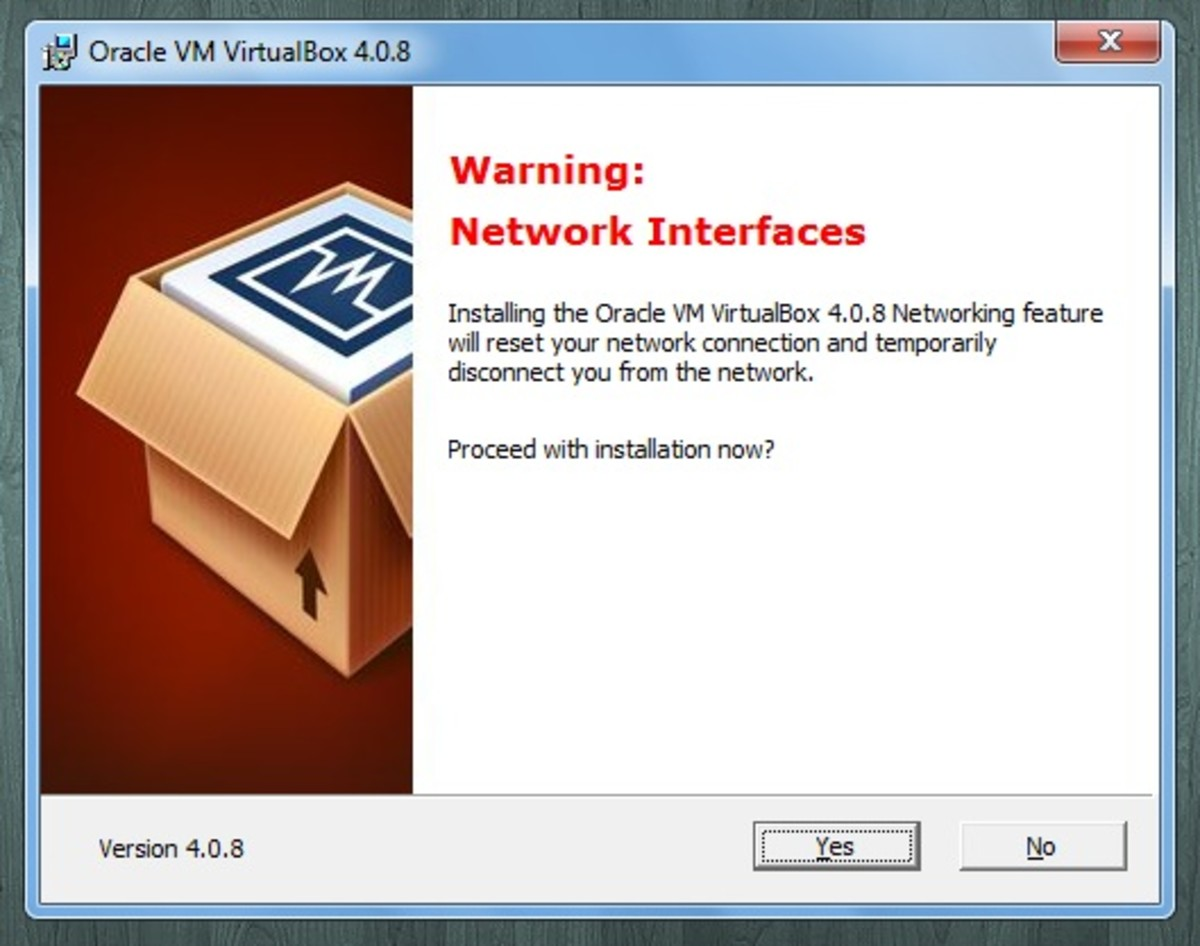 This just warns you that you will be temporarily disconnected from the Internet while VirtualBox is installing
