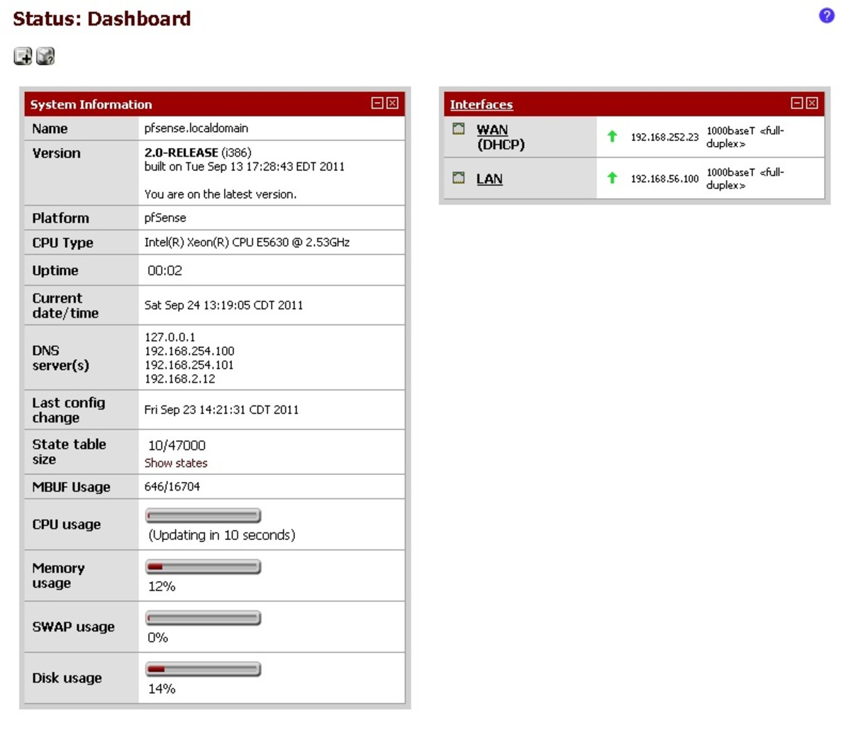 PfSense will reboot after the upgrade, the dashboard will let you know if you are running on the most recent release.