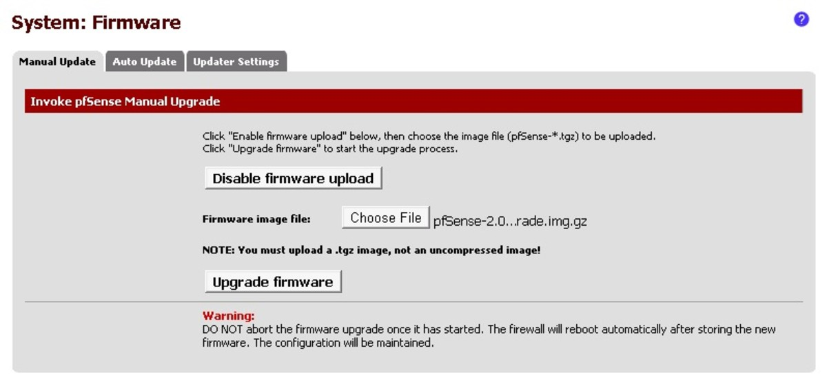 Click on the manual update tab, then click enable firmware upload.