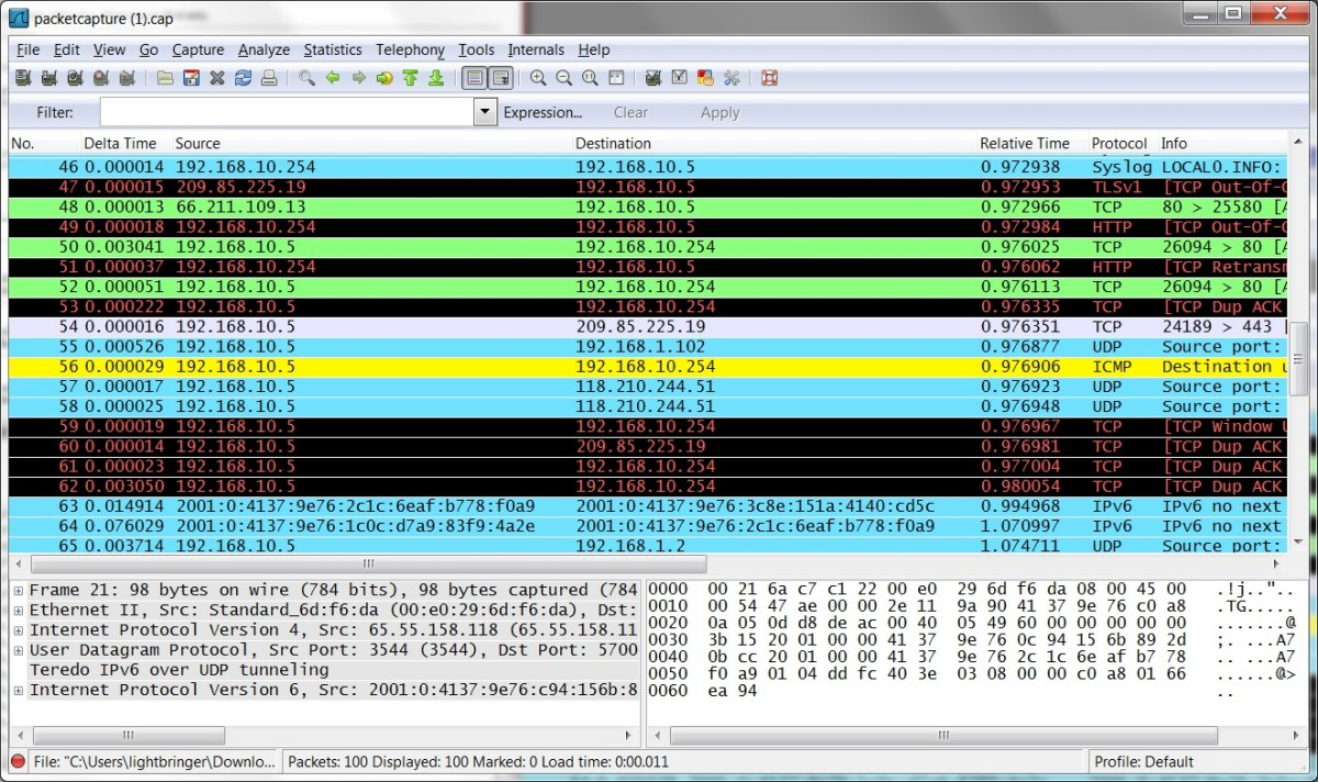 Wireshark is a great way to analyze a packet capture.