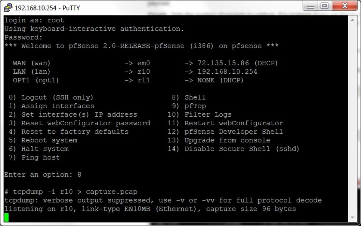 Tcpdump running in the pfSense shell.