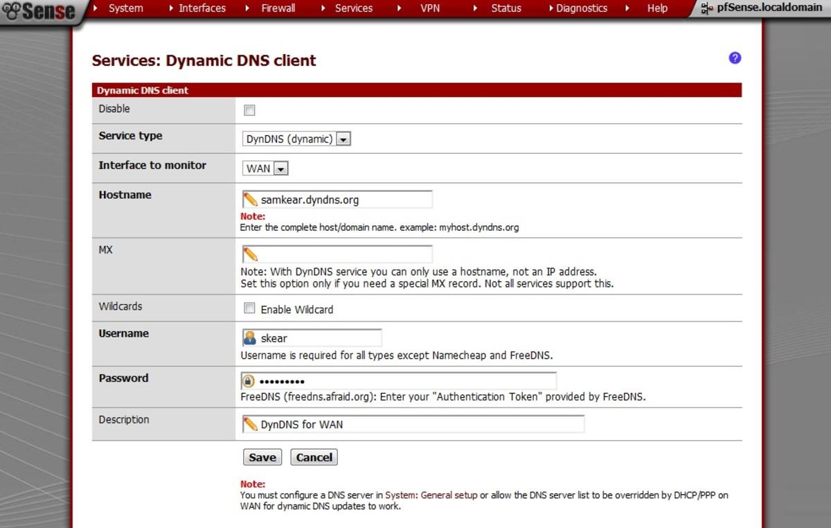 Pfsense dynamic dns not updating