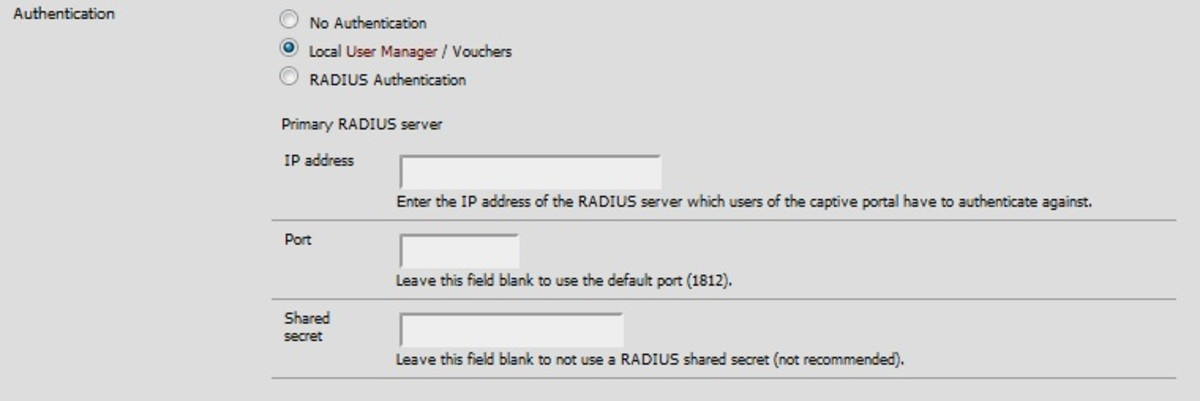 Select either local or RADIUS as an authentication type.