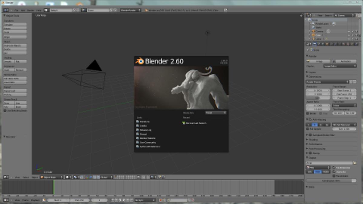 Blender's start screen.