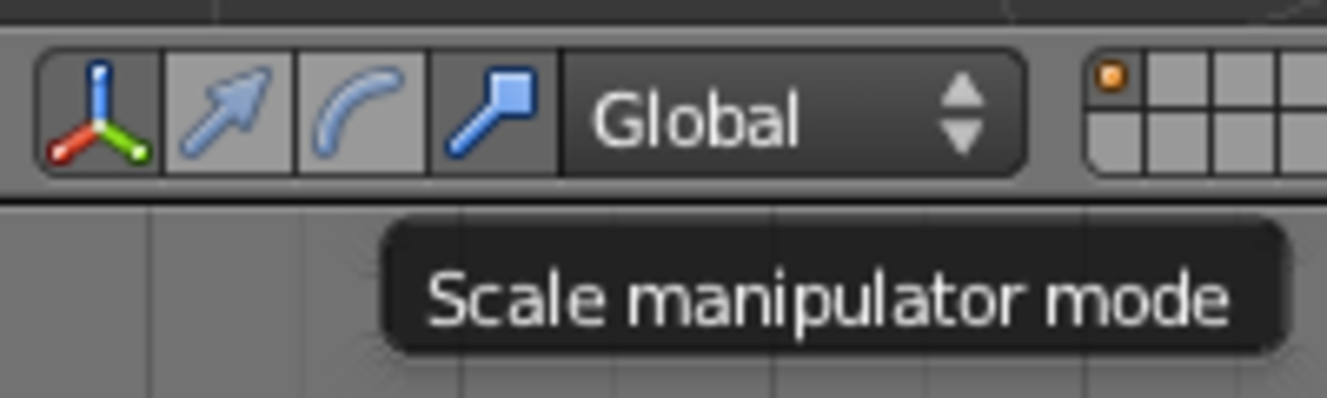 Activating Scale mode in the 3D Manipulator toolbar.
