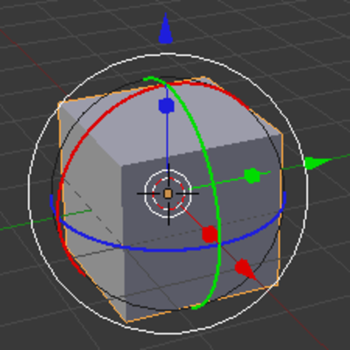 The 3D Manipulator with all three transformation modes active.