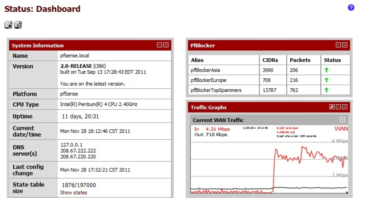 To check the status of pfBlocker add the dashboard widget.