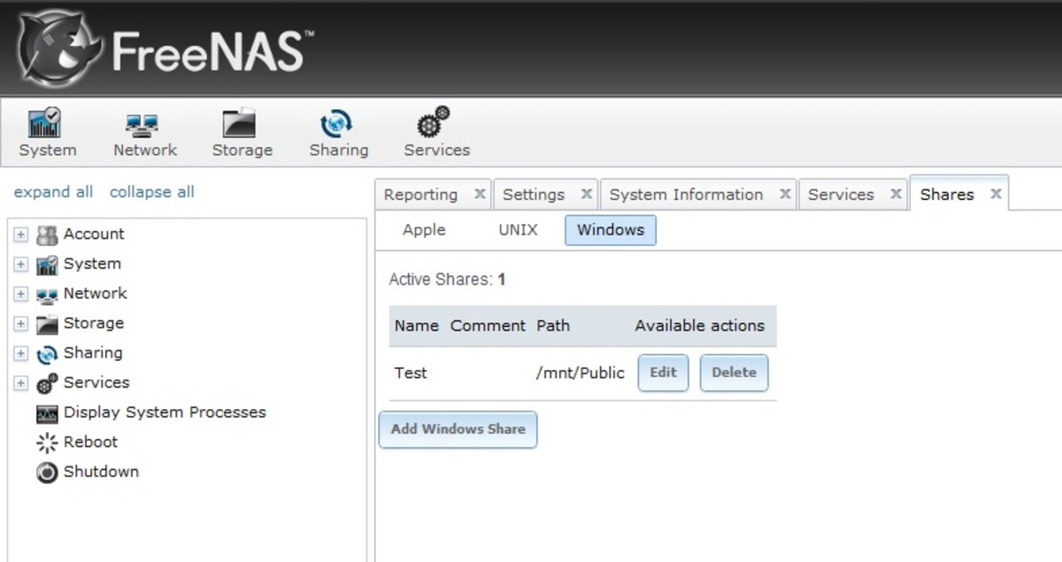 File shares for Windows, Unix , or Apple clients can be added on the shares tab.