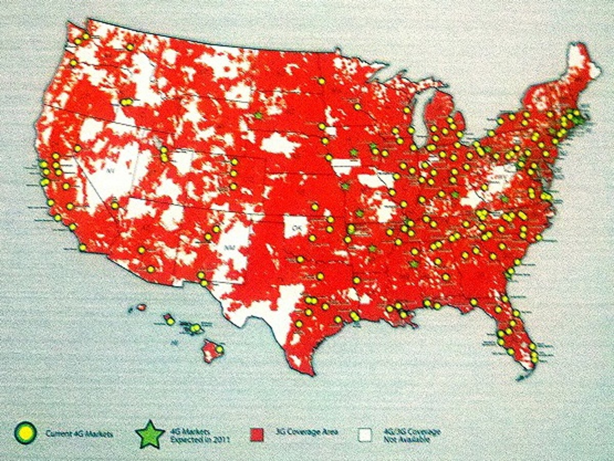 This map was created in a GIS mapping program and shows 3G coverage areas as well as current 4G markets.  Maps like this are a great way that businesses can visually connect with their customers.