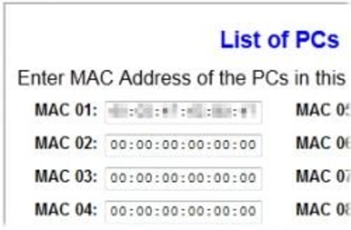 Linksys list of PCs