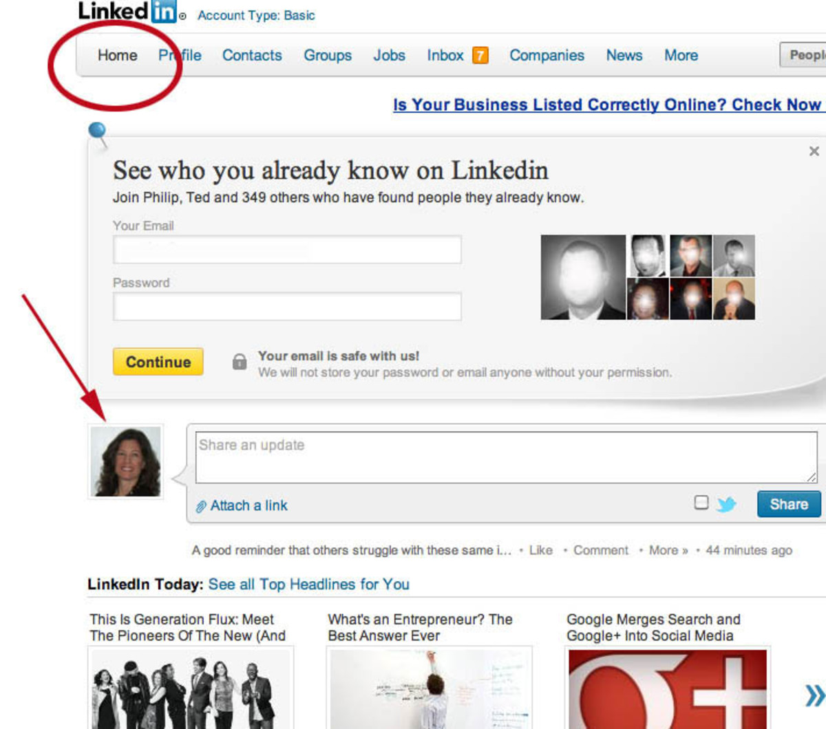 Share An Interesting Article or Book on The Home Page Of LinkedIn.