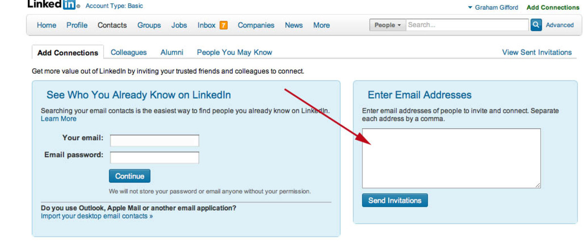 Here is where you can ask people to join your network without emailing them individually.