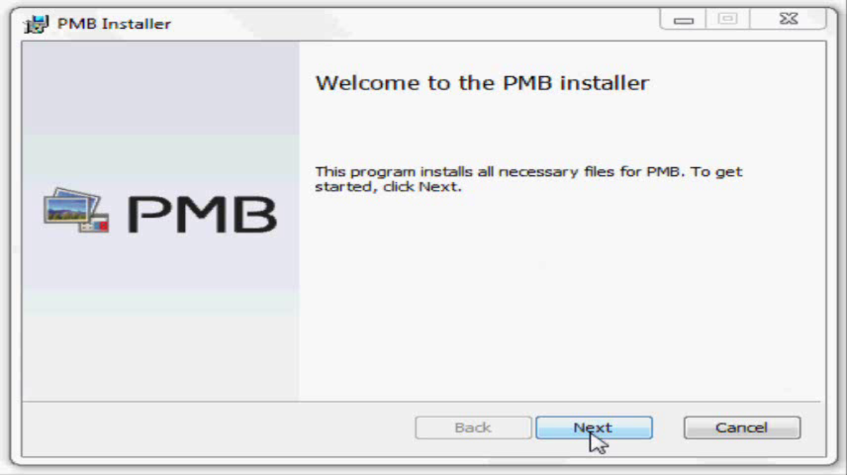 "Click ""Next"" to begin setting up the PMB software installation."