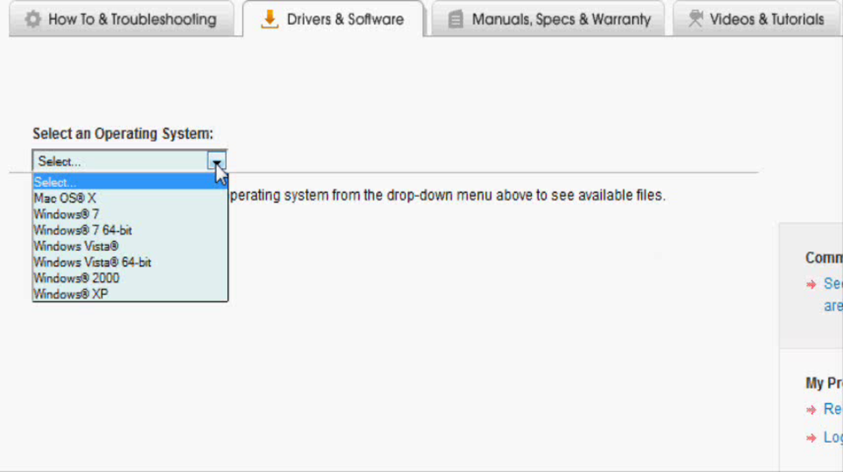 Choose your Windows 7 operating system in the Select an Operating System drop-down menu.