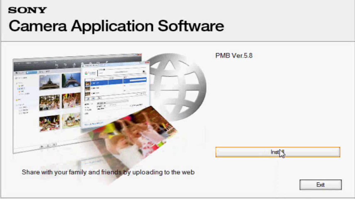 Begin installing the PMB program at the Camera Application Software screen.