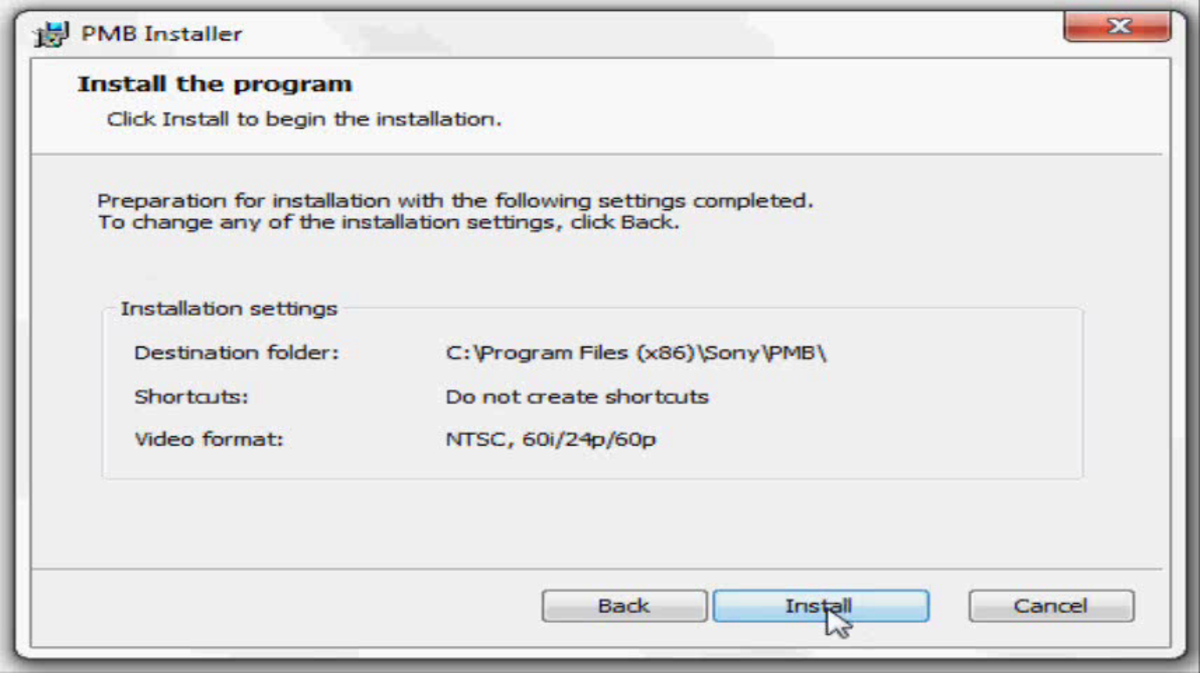 "Click ""Install"" after setting up how you want the program to be installed."