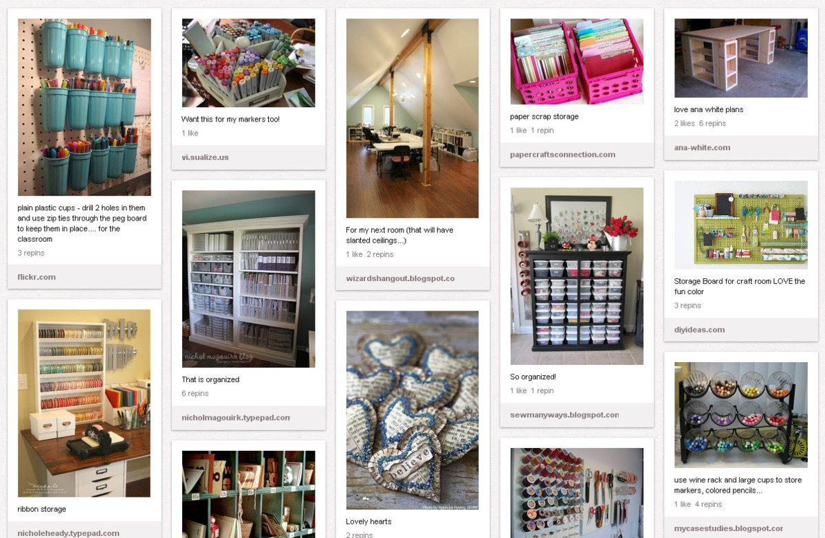 Someone created this Pintrest board to help her brainstorm ideas for her new craft room space.