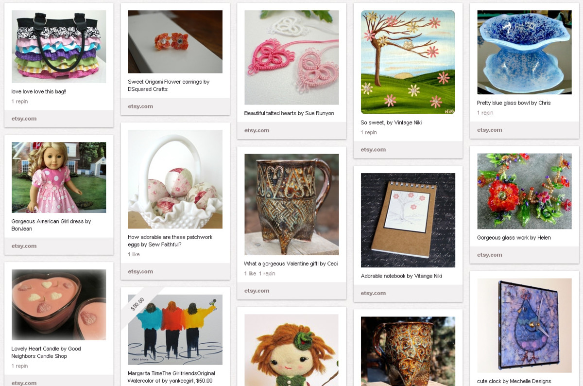 This Pintrest user created a board to promote the work of Etsy sellers from her different teams.