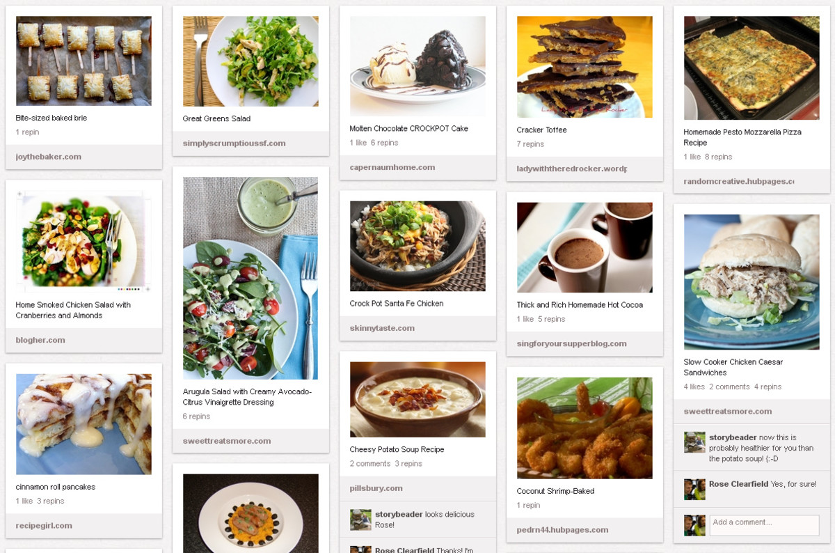 Instead of letting unsorted recipe bookmarks that I may or may not ever use pile up in Firefox, I pin recipes I like.