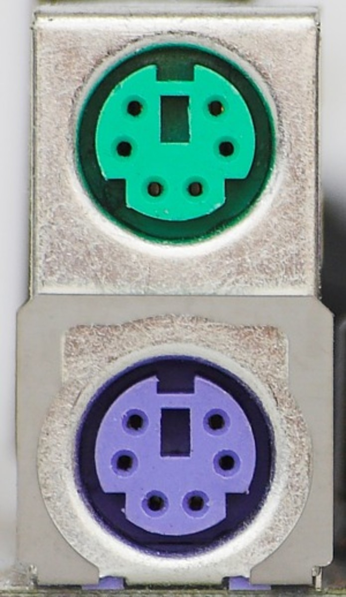 The PS/2 Ports, green for mouse and purple for keyboard.