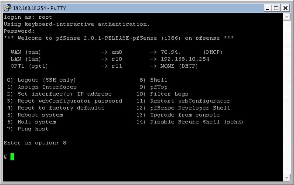 After logging into pfSense using SSH the welcome menu will be displayed.
