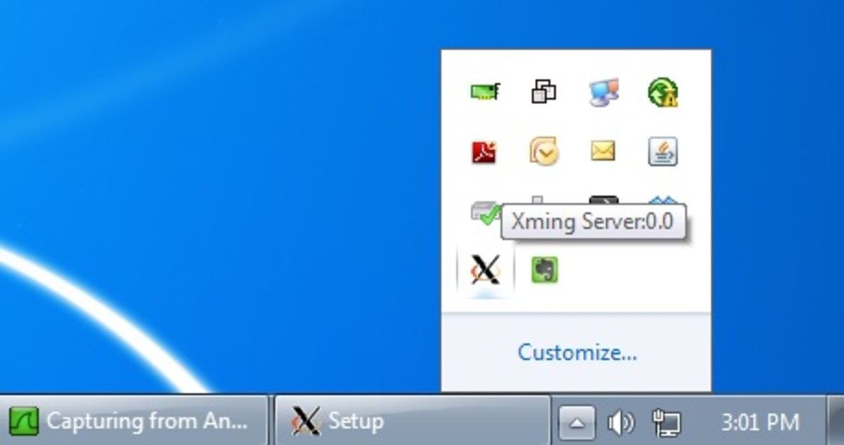 When Xming is running the icon will appear in the system tray.