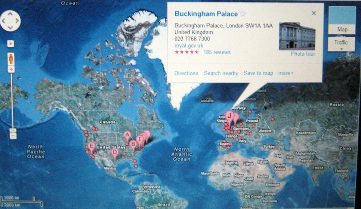 Buckingham Palace in London UK on Google Maps