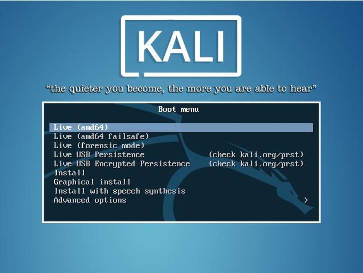 Kali Linux boot menu.