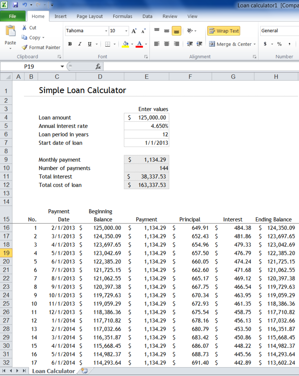 Microsoft Excel Loan Calculator