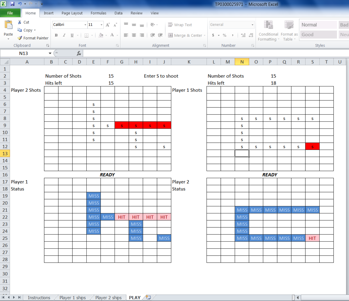 Microsoft Excel is a very powerful tool, but it is versatile enough to have some fun. Within the templates is a section of games - this is an interactive Battleships worksheet.