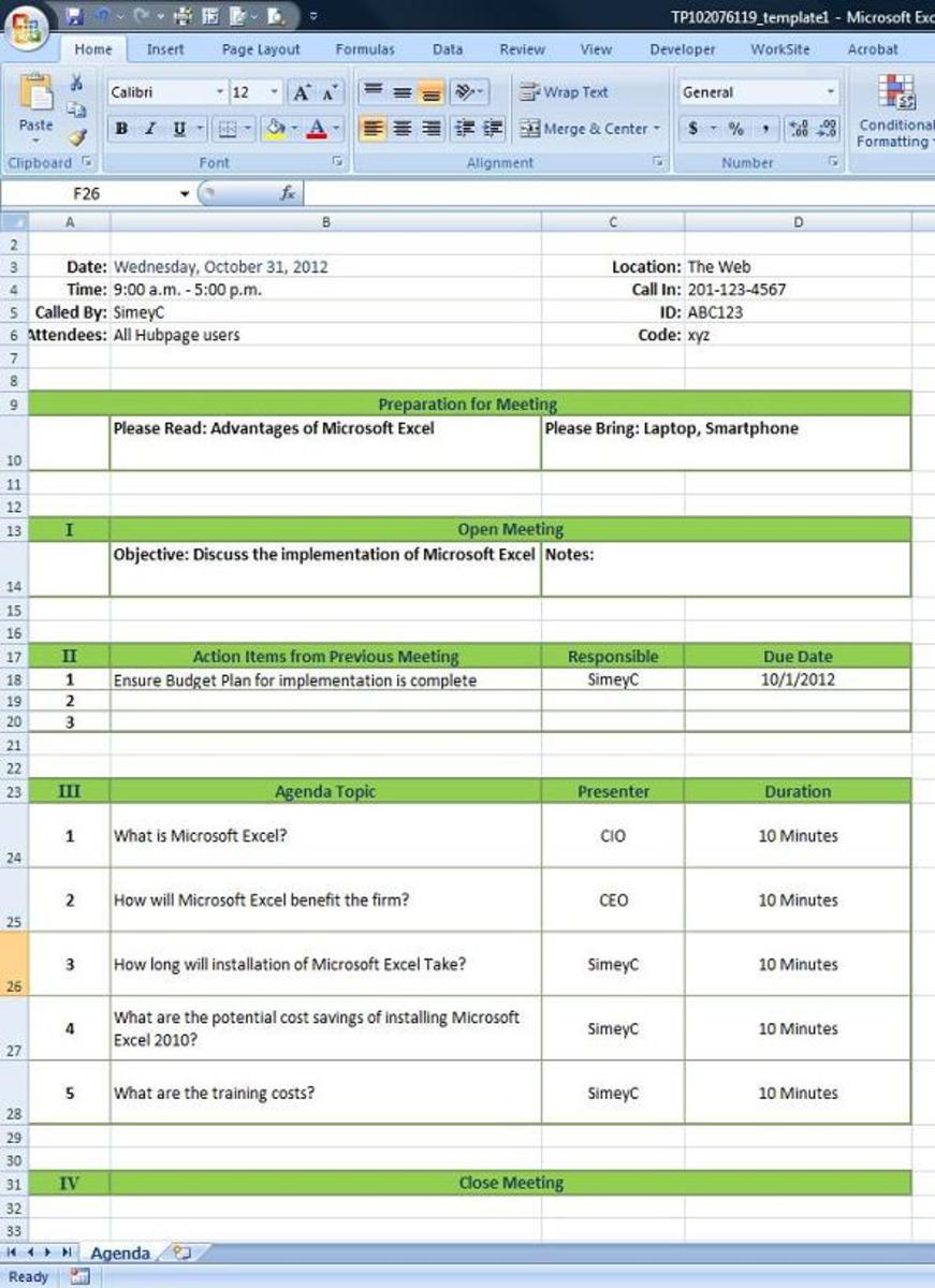 Microsoft Excel Agenda worksheet