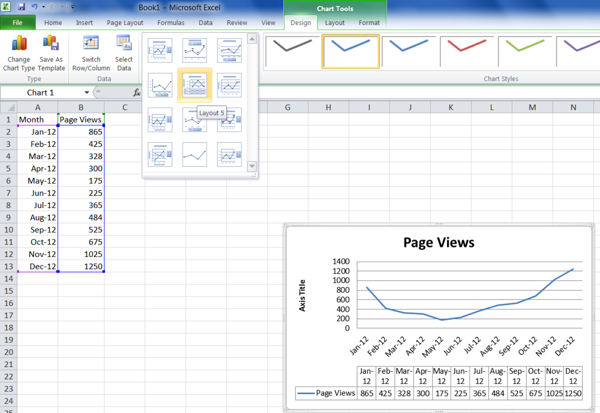Changing the design of the chart in Excel