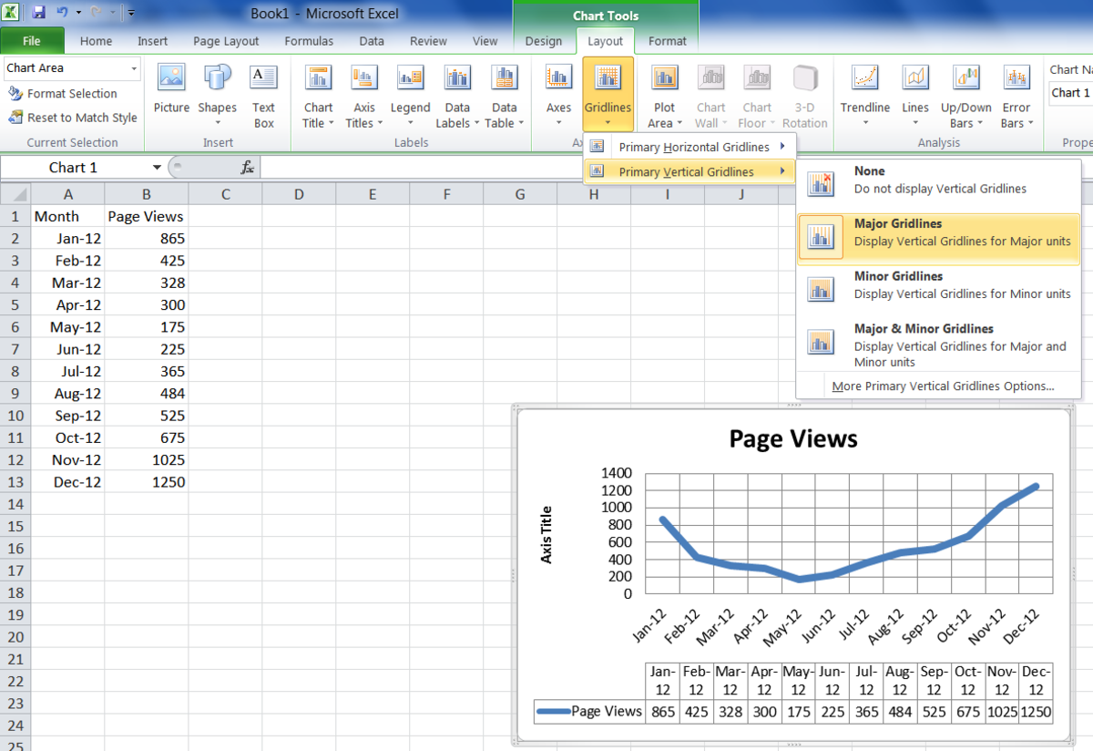 Changing the layout of the chart in Excel