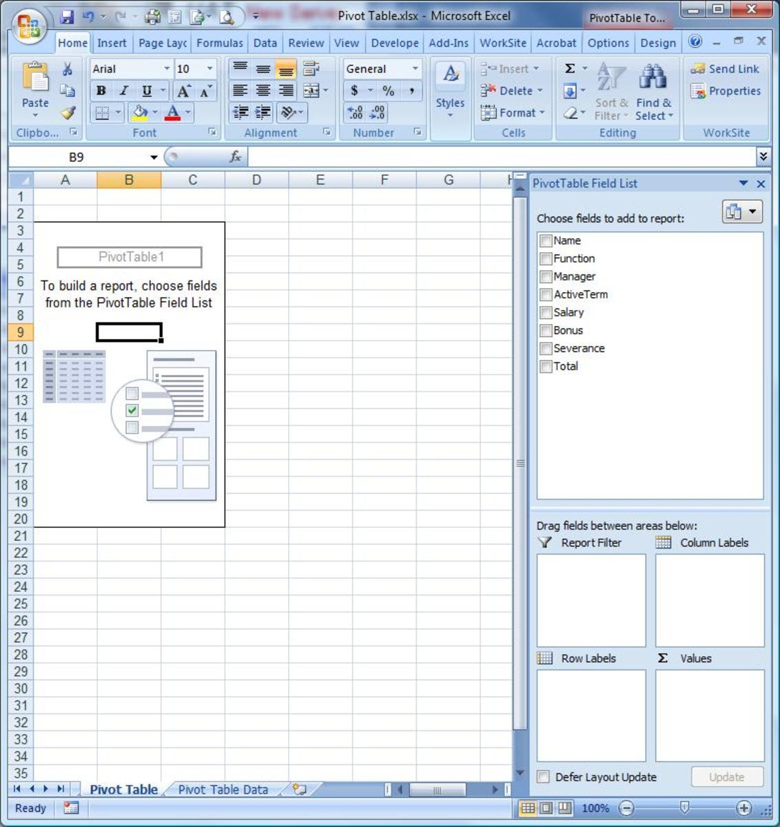 The Pivot Table template wth the field list populated