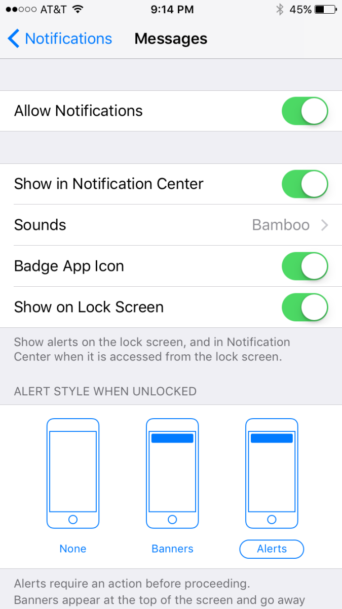 Use the toggle to determine whether you allow messages to be shown in the notification center, what sound plays for new messages, whether or not you show the count of new messages in a badge app icon, and more.