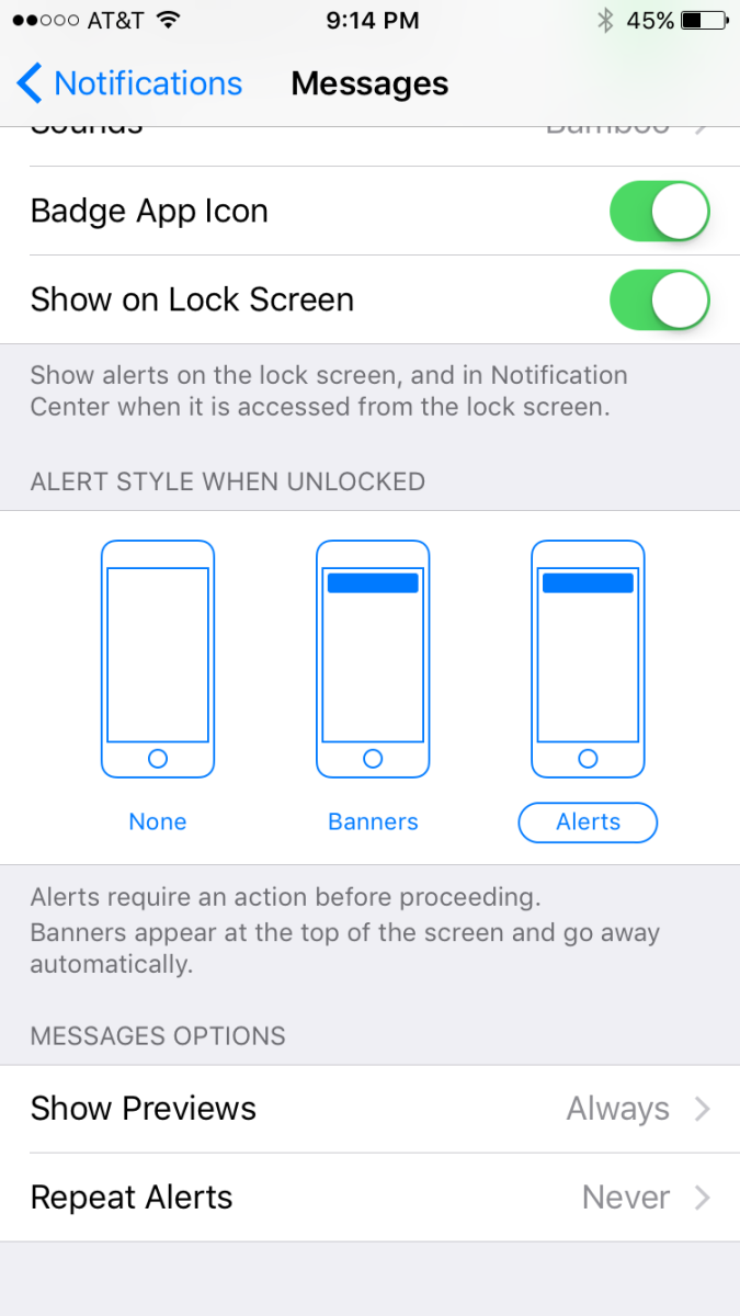 Choose whether new messages show up in the form of a banner, an alert, or not at all.