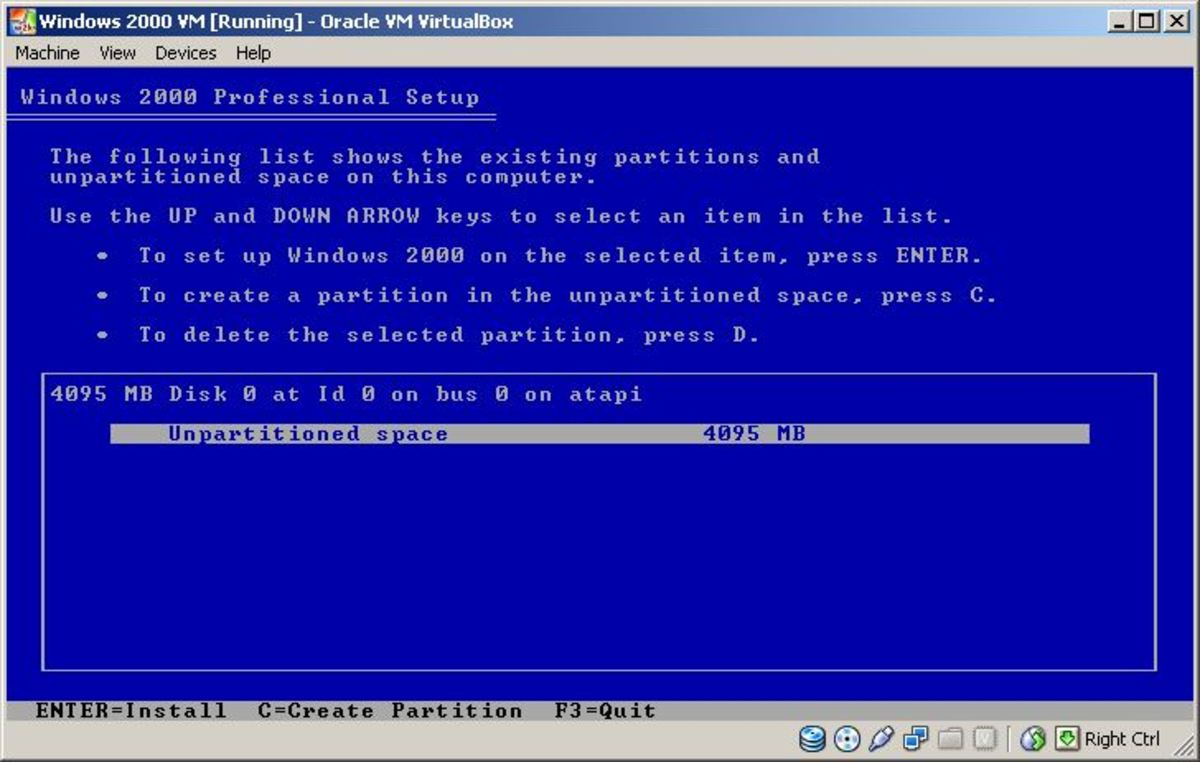 Selecting the blank virtual hard drive to install Windows 2000 on