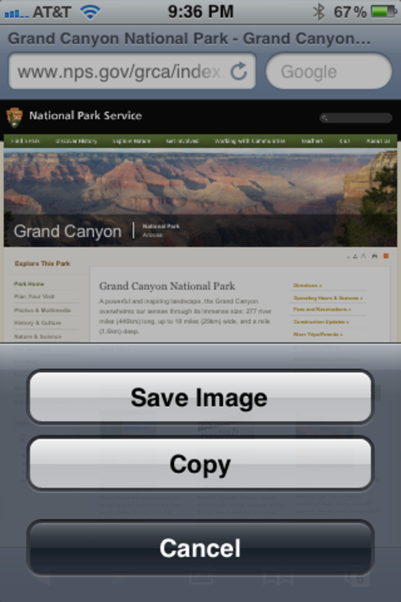 Screen shot of the National Park Service Grand Canyon website opened in Safari Browser and after touching the panoramic picture.